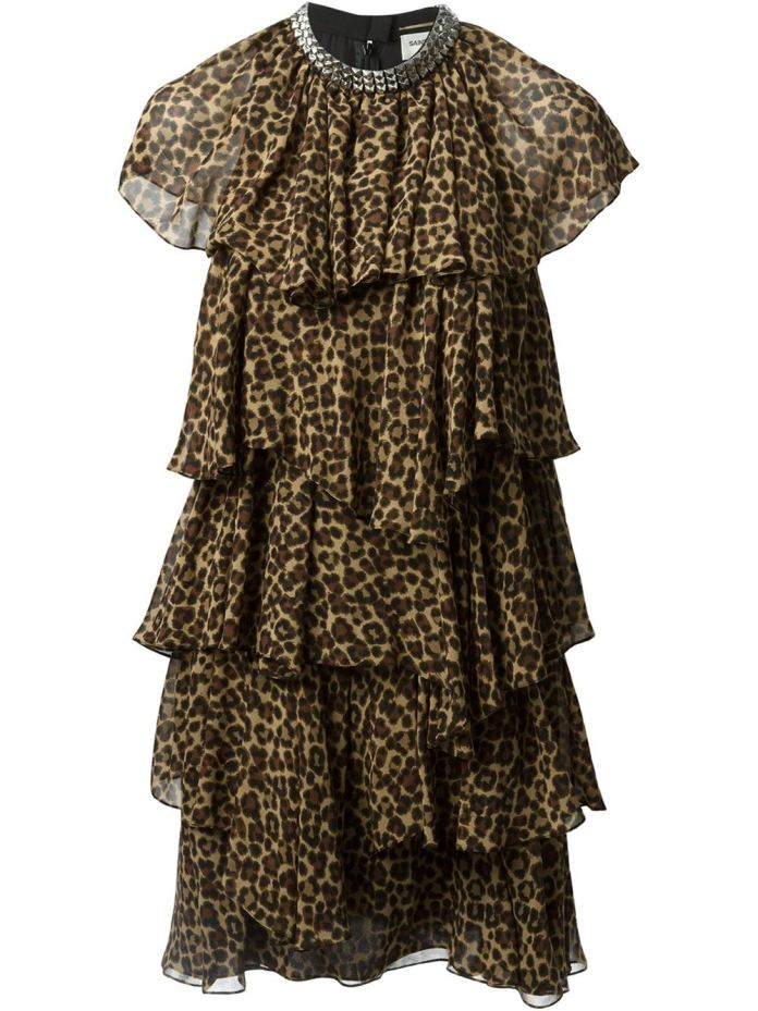 Tonal brown silk tiered babydoll dress from Saint Laurent