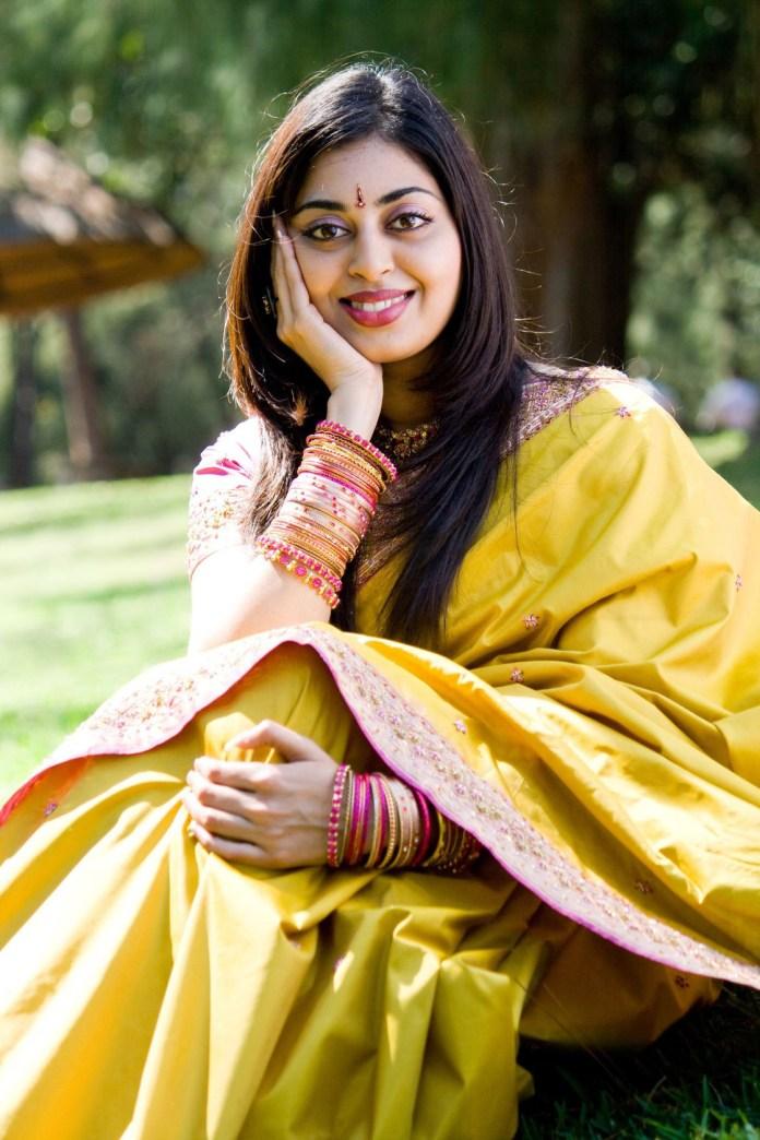 beautiful indian woman in yellow