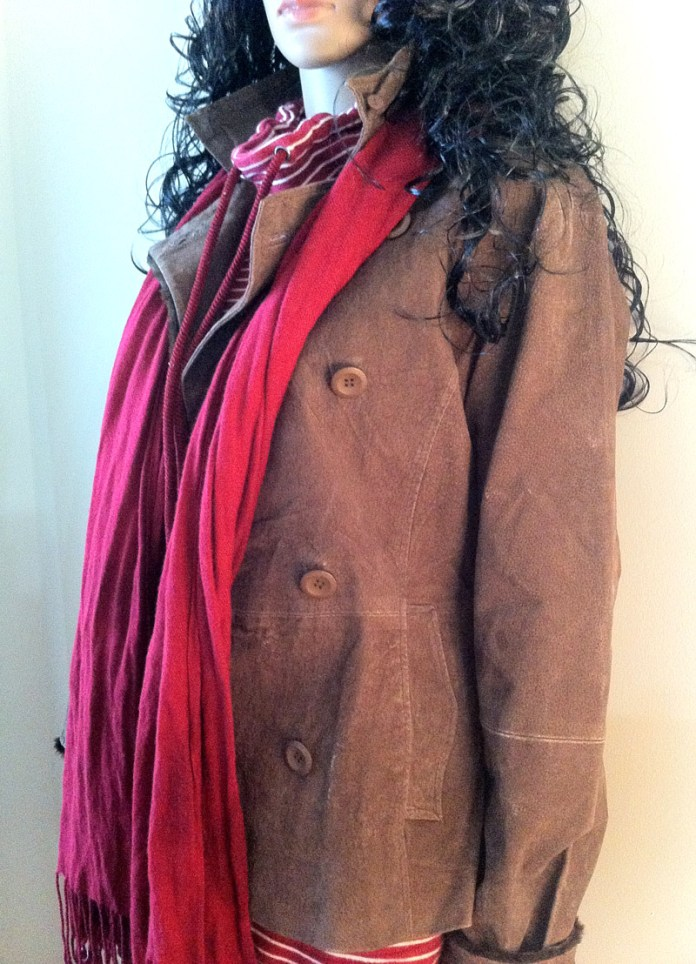 red white striped top brown leather jacket blue jeans black suede buckle boots 5