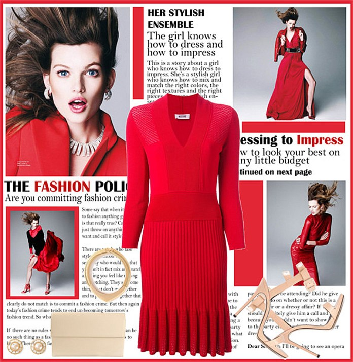 MOSCHINO CHEAP CHIC red ribbed knit dress