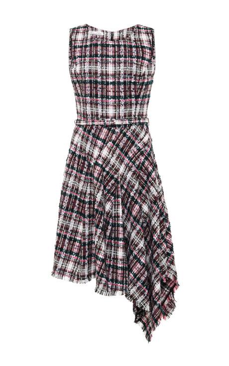 Oscar de la Renta Asymmetric-Hem Tweed Dress Flamingo
