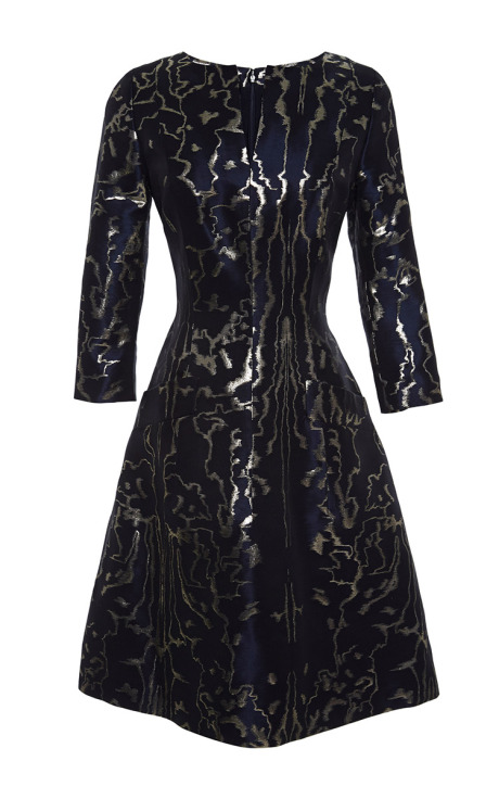 Oscar de la Renta Metallic-Jacquard Dress Navy