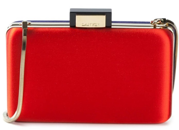 Lanvin red colour block box clutch