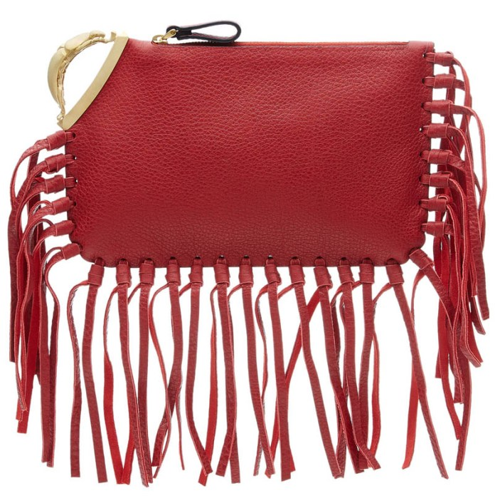 Valentino red Scarab Fringed Leather Clutch
