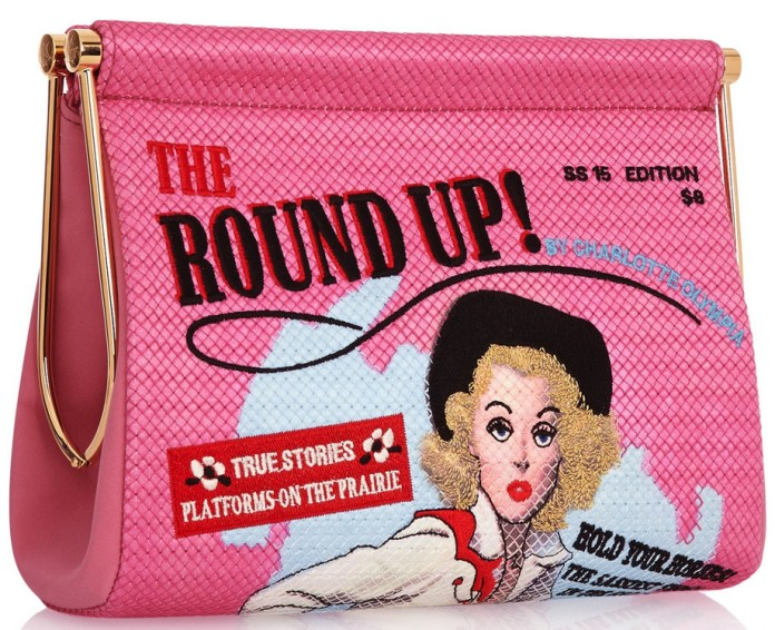 Charlotte Olympia Round Up Maggie embroidered crepe de chine clutch