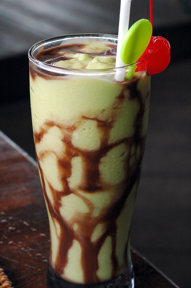 Indonesian-style avocado shake with chocolate syrup and condensed milk