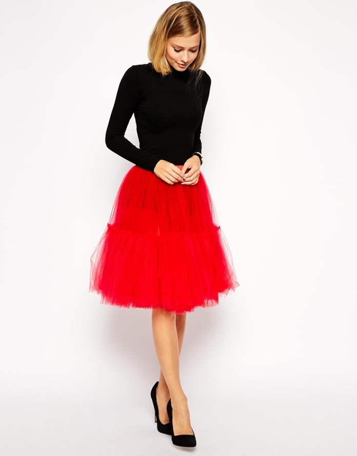 Red ASOS Full Midi Tulle Skirt