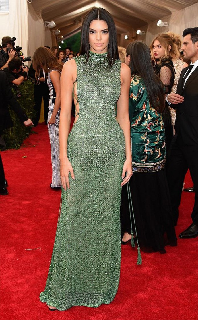 Kendall Jenner wearing a Calvin Klein Collection jade green crystal-encrusted dress