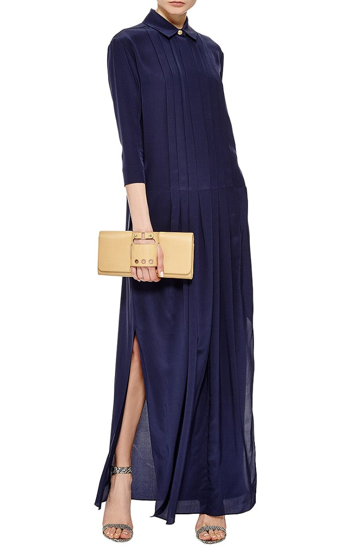 Kenzo Navy Silk Crepe De Chine Long Sleeve Gown