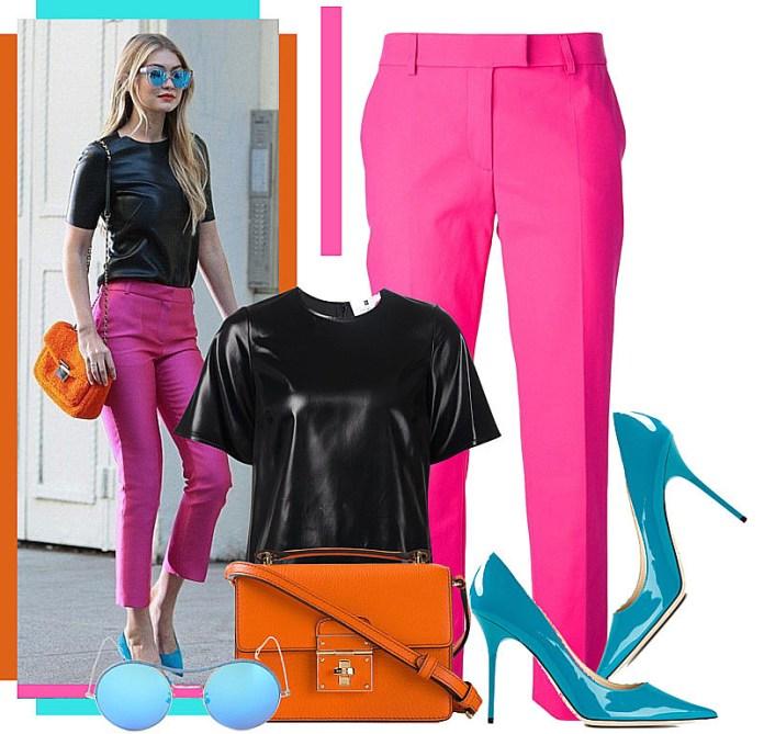 black top pink pants blue pumps
