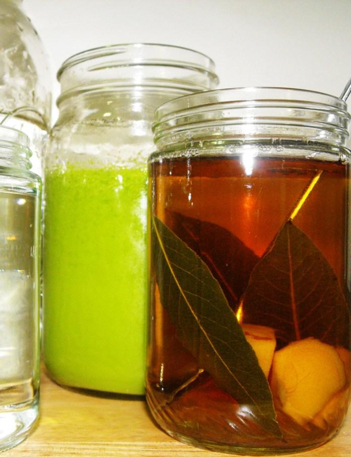 ginger and bay leaf tea spinach kale coconut milk blended drink