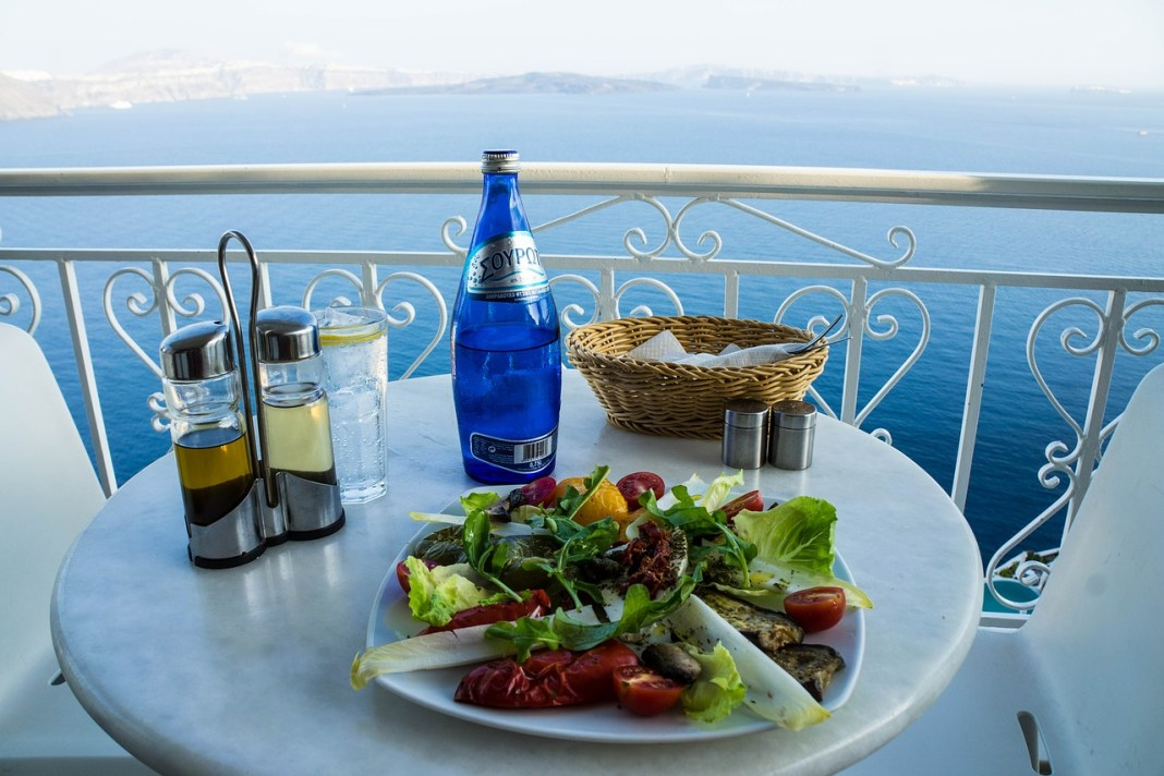 salad on table view overlooking ocean