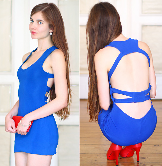 Ariadna Majewska help I have nothing to wear wearing red pumps with a blue dress