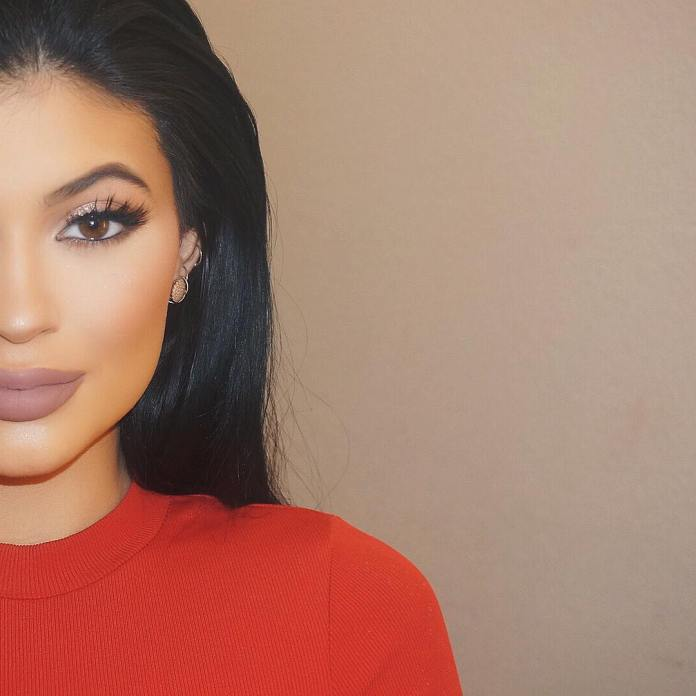 Kylie Jenner eye makeup red top beauty