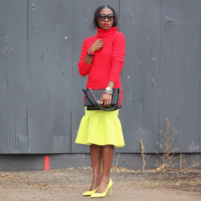 Ranti Onayemi Ranti In Review Blogspot red sweater lemon yellow skirt