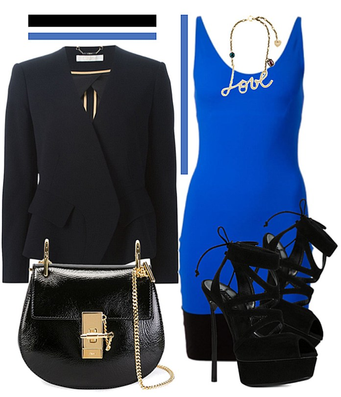 blue dress black shoes
