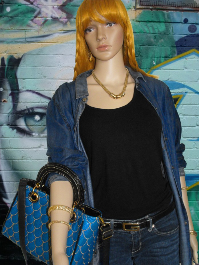 denim shirt black tank blue jeans 2