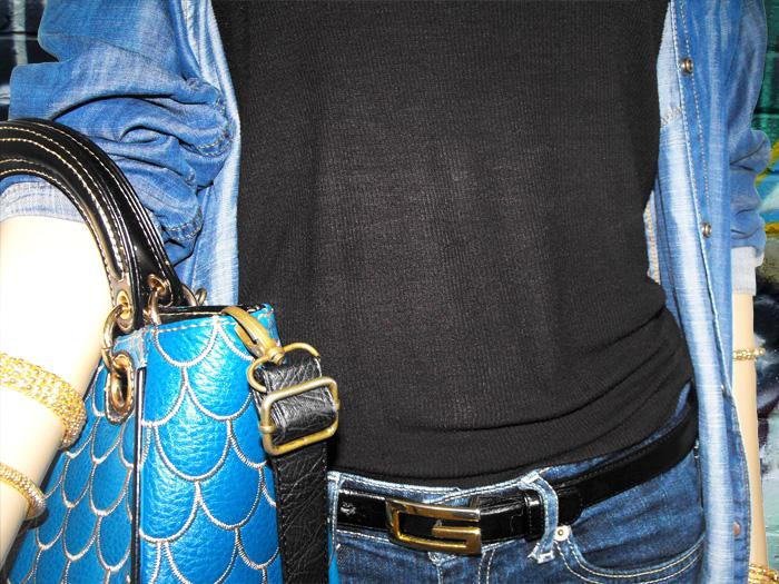 denim shirt black tank blue jeans sm