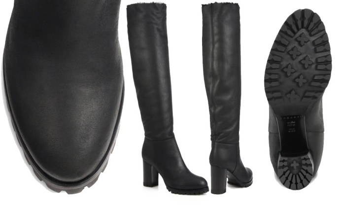 Casadei Leather and Shearling Knee-High Boots