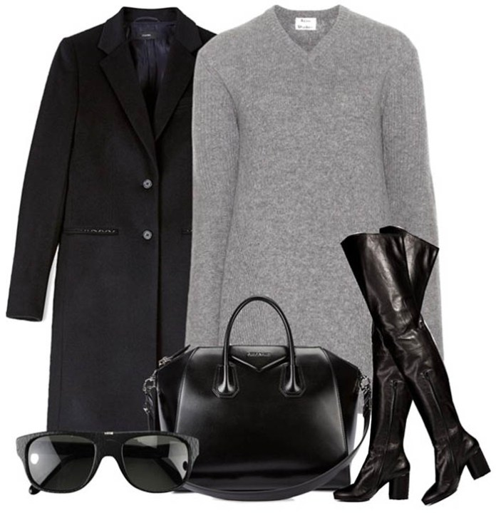 gray sweater dress black knee high boots