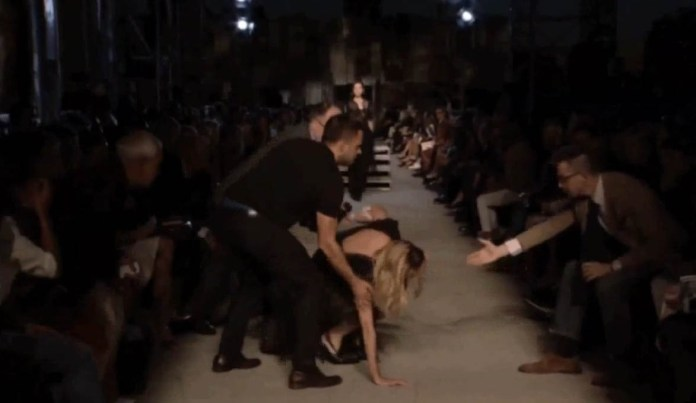 Candice Swanepoel falls Givenchy show New York Fashion Week