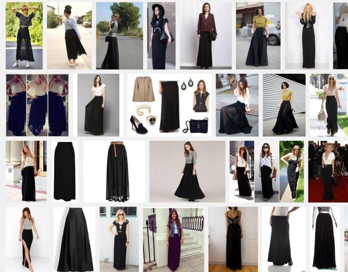 women wearing black maxi skirt 2