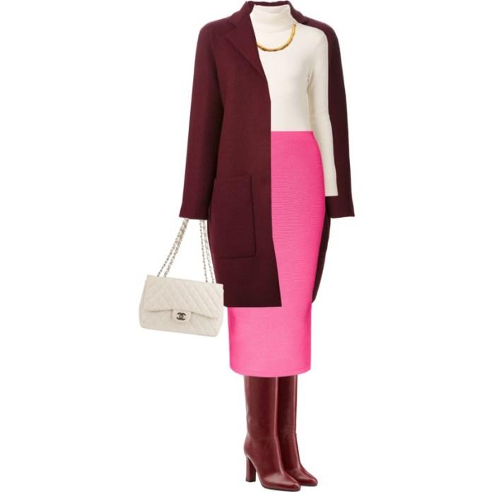 Burgundy coat pink shirt white top burgudy boots white bag