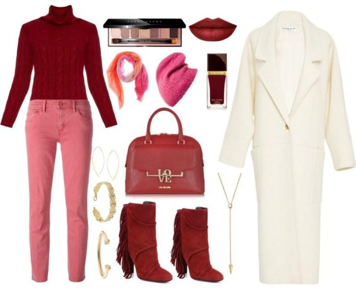 Burgundy sweater pink jeans cream white coat burgundy boots