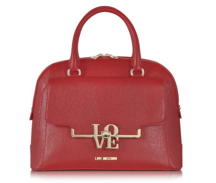 Love Moschino Brick Red Eco Leather Medium Satchel w Shoulder Strap