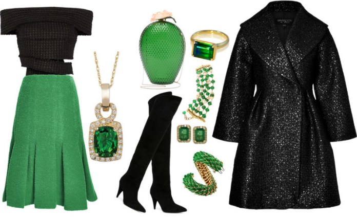 Proeza Schouler black off the shoulder tweed top green Thakoon boucle wool flared hem skirt green and black outfit idea