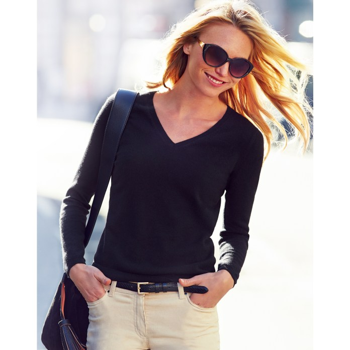 Pure Collection V Neck Cashmere Sweater with product code LK-T47 model wearing black