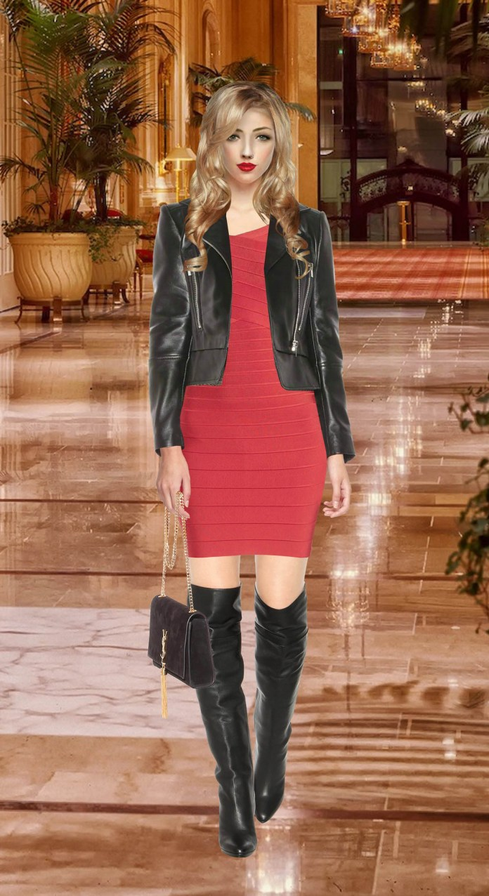 Photoshop composite rendering of a model wearing a lipstick red Herve Leger Tayler bandage dress with black Jimmy Choo knee high boots - Bacground image of Sheraton Palace Hotel via Pixabay.com