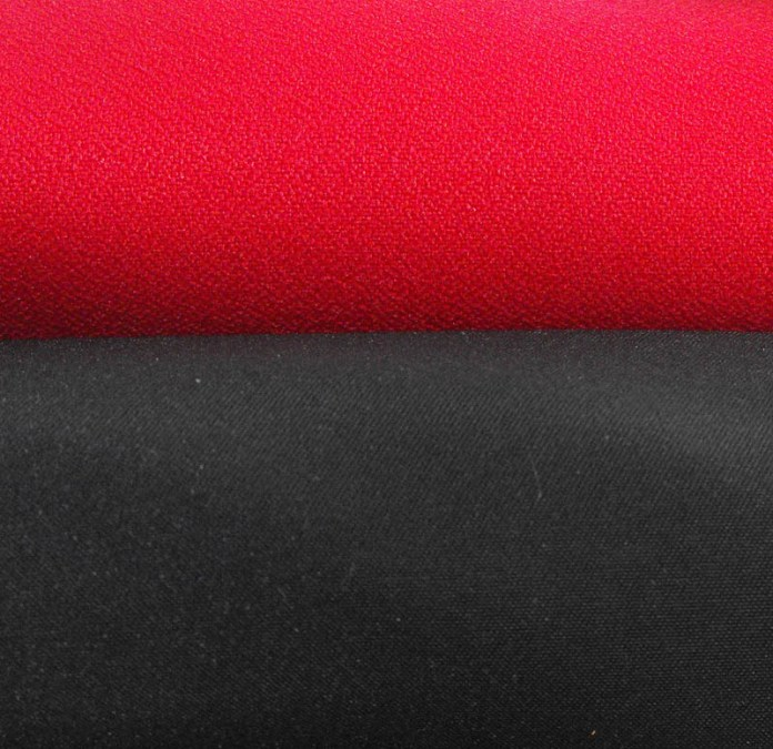red crepe black duchess satin fabric
