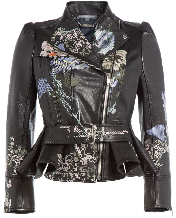 Alexander McQueen Leather Jacket Cross Stitch Embroidery