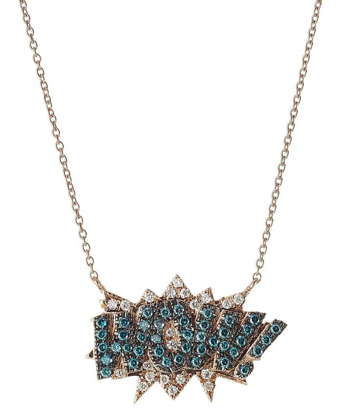 Diane Kordas necklace WOW 18kt Rose Gold blue white diamonds