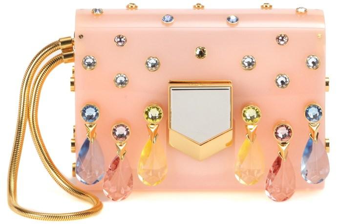 Crystal embellished pink Jimmy Choo Lockett minaudiere clutch