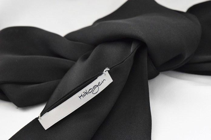 halogen black silk skinny scarf