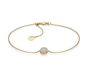 Monica Vinader Gold Vermeil Ava Button Bracelet - Diamond