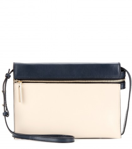Victoria Beckham Zip Two-tone Leather Shoulder Bag
