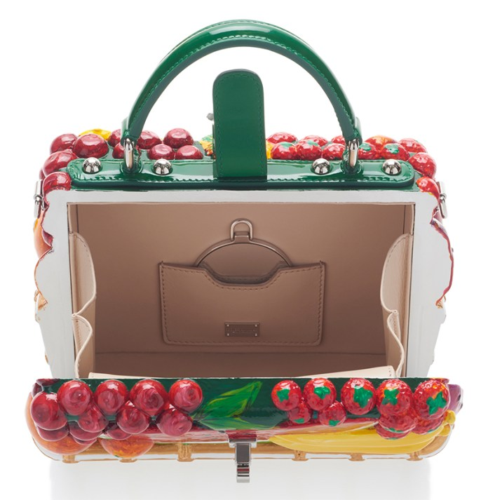 Inside view fruit embellished Dolce Gabbana tote bag