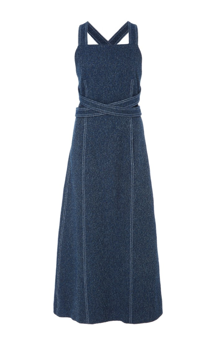 Rosetta Getty Apron Wrap Tweed Dress