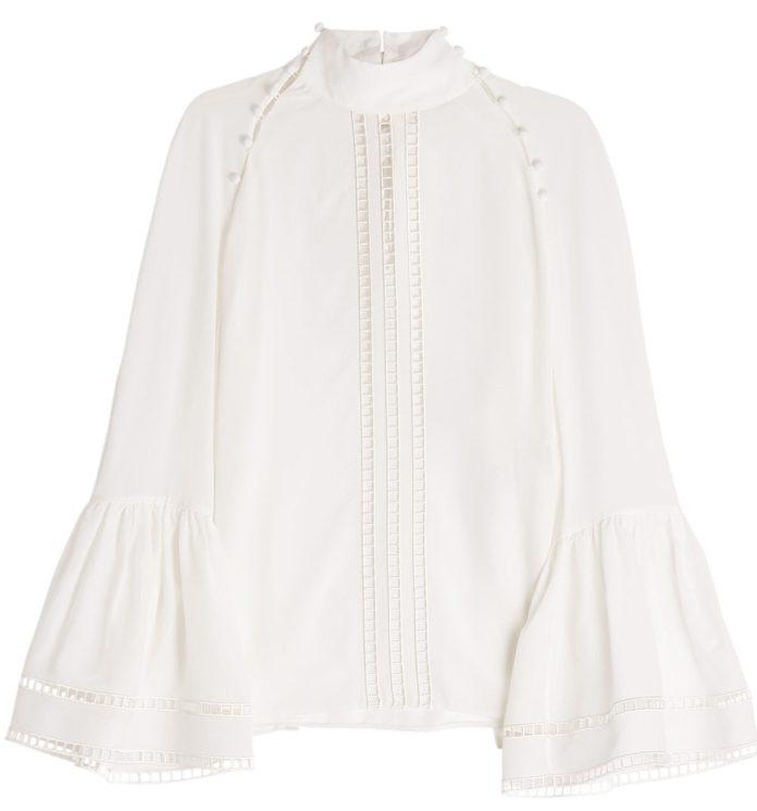 Fendi white silk crepe blouse