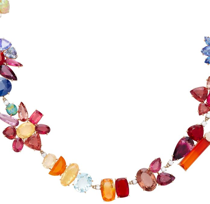 Irene Neuwirth necklace 18K Rose and White Gold Multi-Stone Necklace