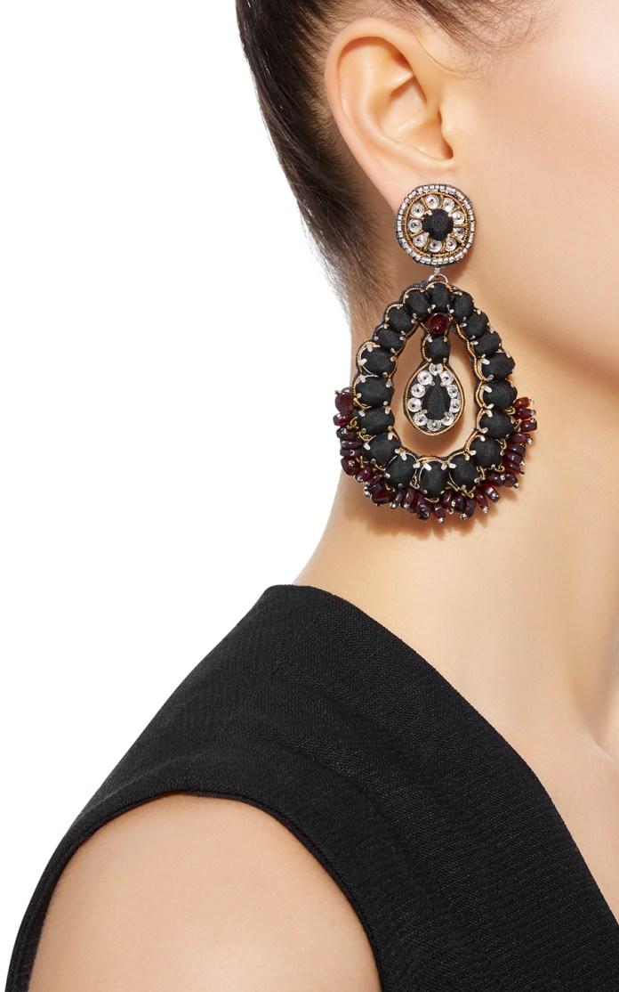 Black drop Ranjana Khan earrings stylish clip on earrings