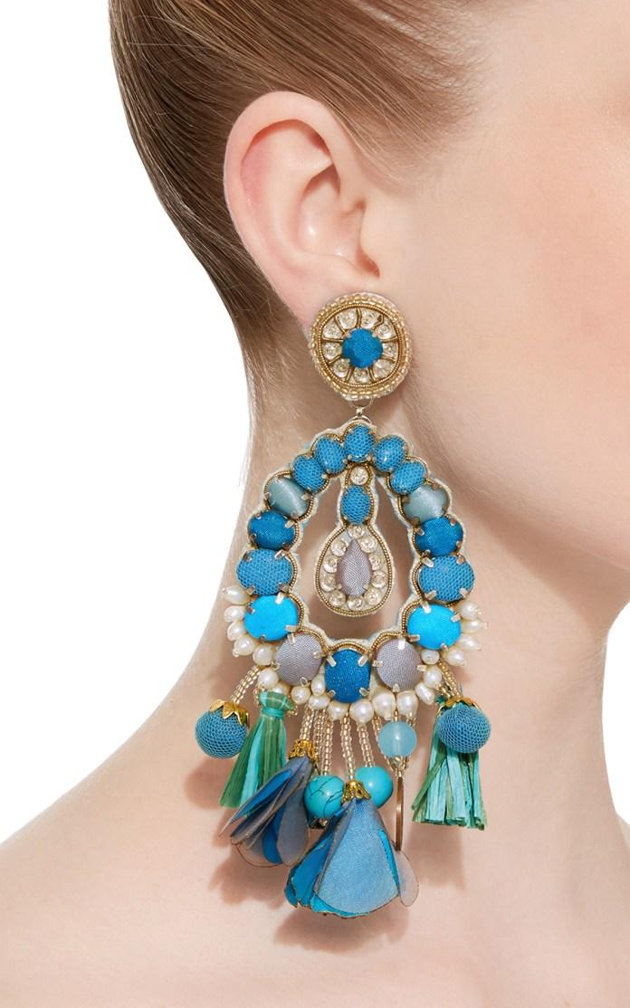 Blue Tear Drop Earrings with Tassels Ranjana Khan stylish clipon earrings