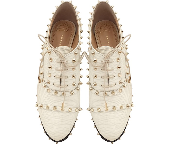 Charlotte Olympia Hoxton Ivory Embossed Leather Platform oxford shoes for women