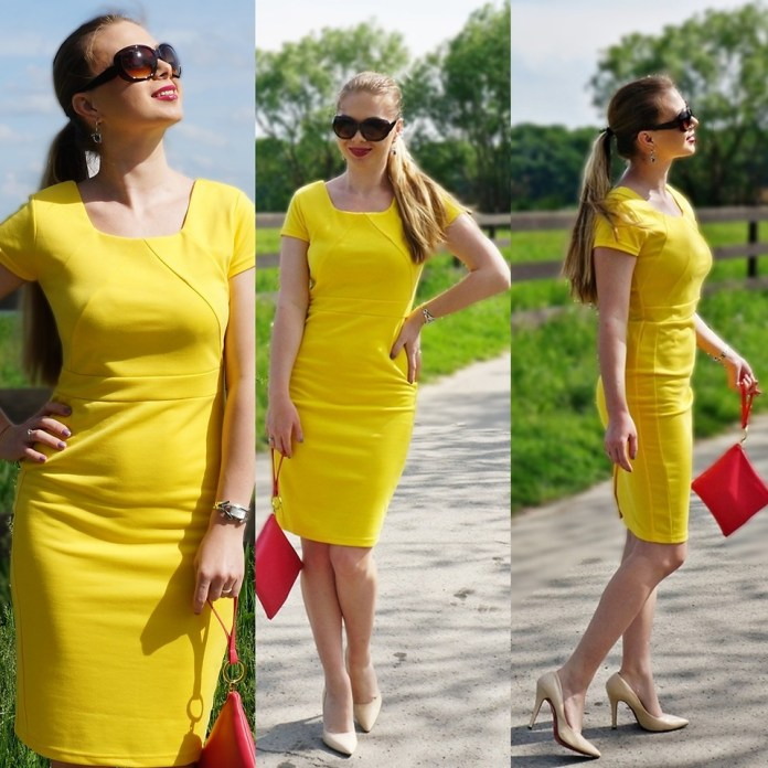 Federova Kik Beauty Blogger from Bucharest Romania wears nude pumps with a yellow dress