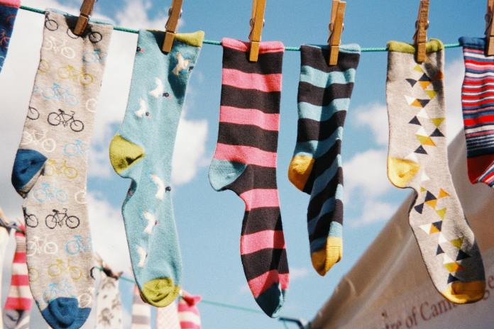 colorful socks hanged to dry