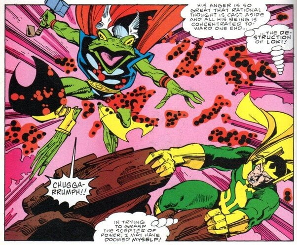 Thor is transformed into a frog