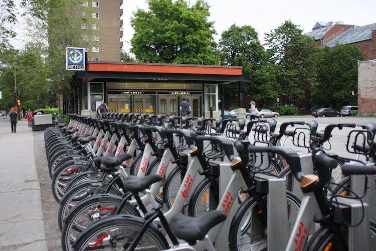 Cycling in Montreal. The Bixi bike share service has helped to boost cycling in Montreal